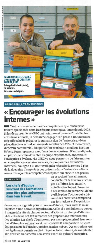 Article du magasine Le Moniteur - Avril 2011