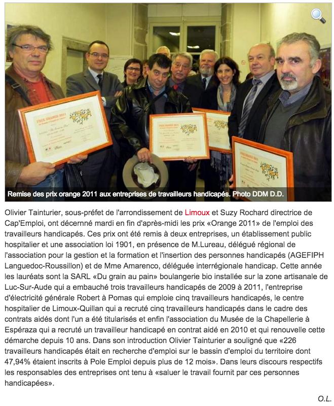 Limoux : Prix Orange pour les employeurs d'handicapés 23-12-2011 ladepeche.fr